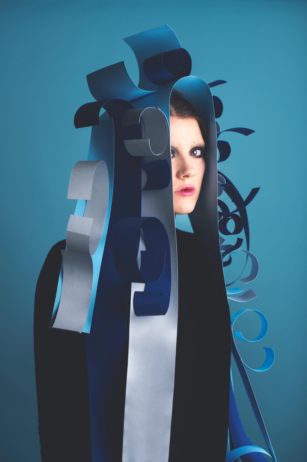 Paper Headdress, fashion model, blue background, Monochrome