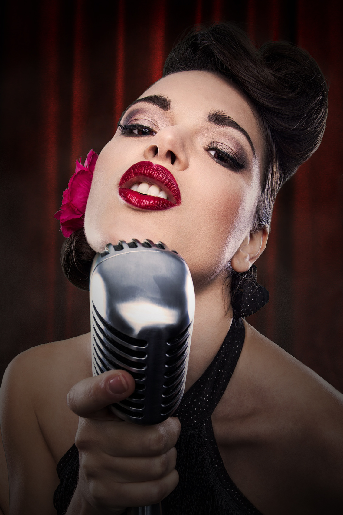 Pinup girl close-up, swing singer, red lipstick