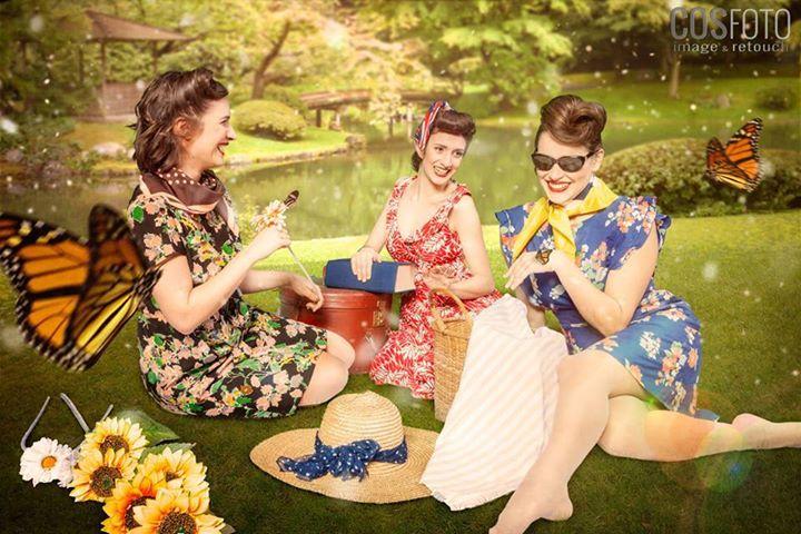 Three swing singers, pinup ladies, pic nic