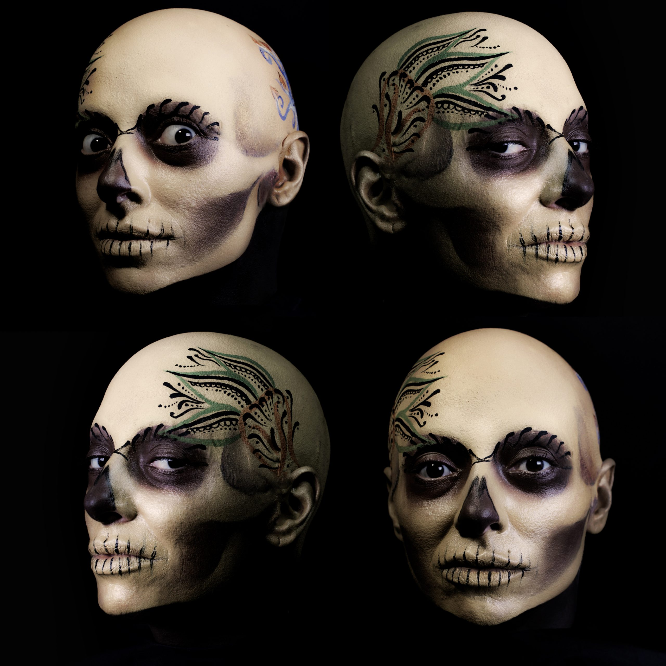 Four heads with skull alike makeup, catrina mexicana