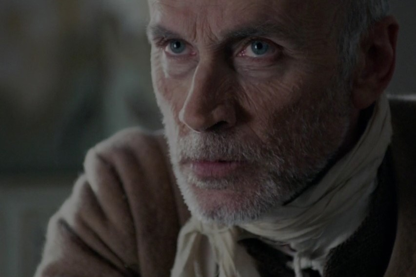 Old man close-up, movie makeup, old aging