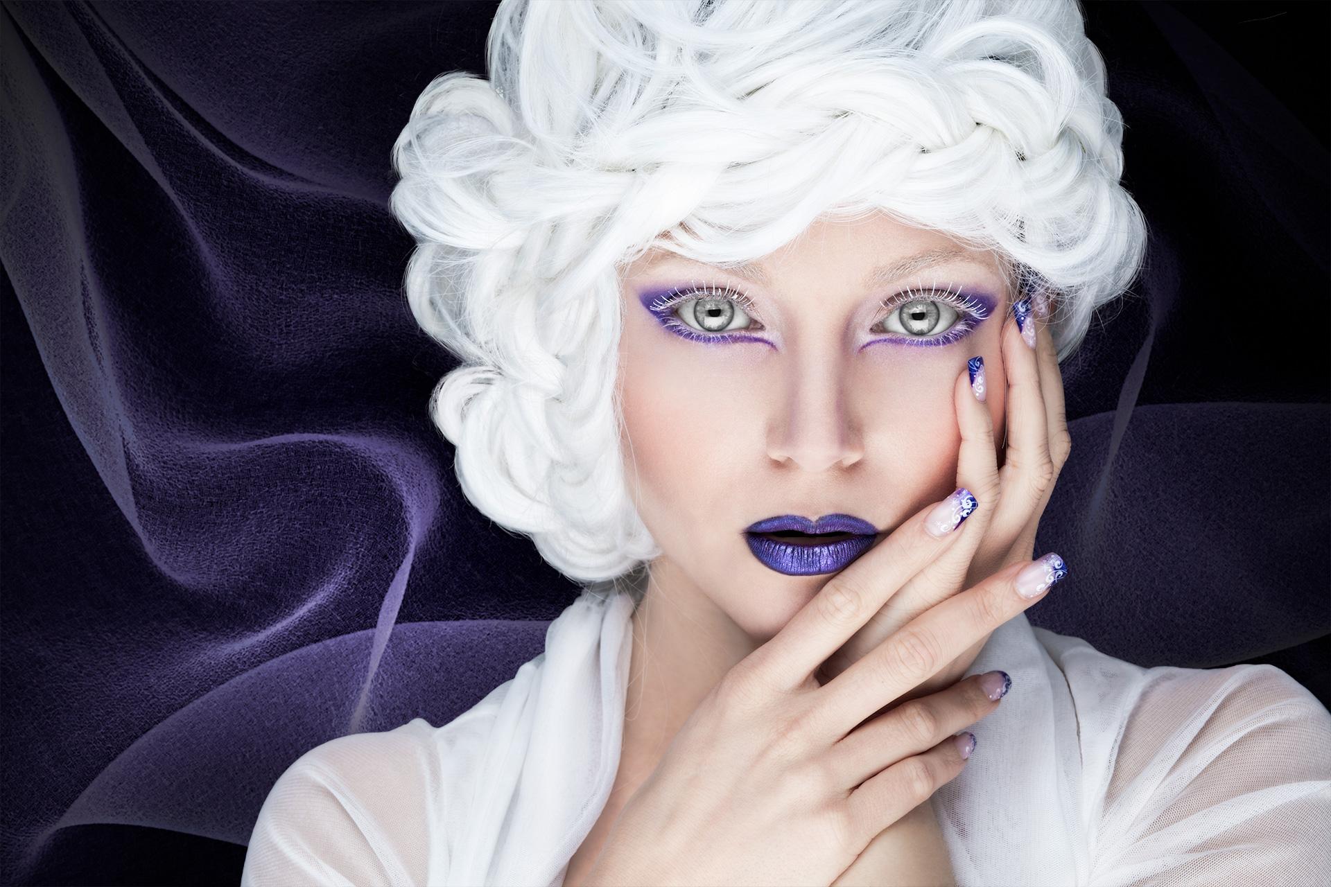 Close-up, grey-eyed woman, white wig, purple lipswoman,