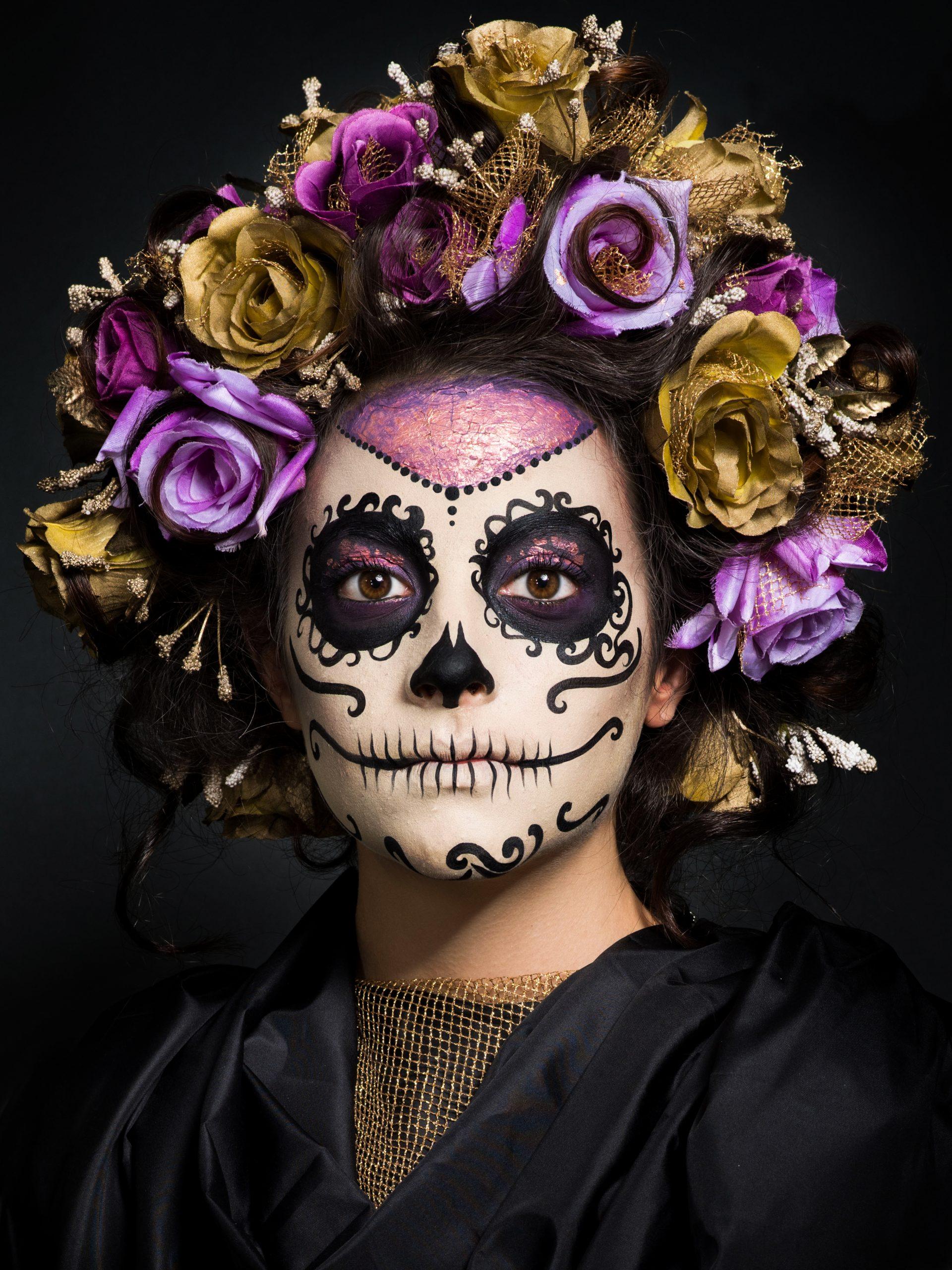 Sugar Skull makeup, purple an gold roses